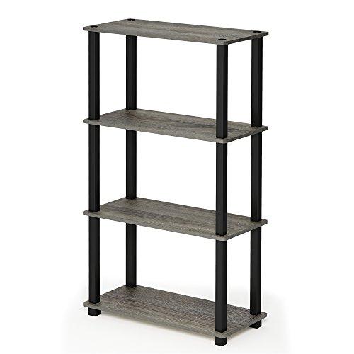 FURINNO Turn-S-Tube 4-Tier Multipurpose Shelf Display Rack, Square, French Oak Grey/Black