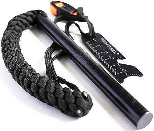 REHTAEL Flint and Steel Fire Starter Survival kit, [1/2 x 6 Inch] Large Ferro Rod with Multi-Tool Fire Striker/Paracord Lanyard for Camping, Hiking (Black)