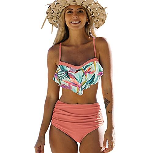 DURINM Costume da Bagno Donna Due Pezzi Bikini A Vita Alta Stampa Floreale Bikini Halter Reggiseno Imbottito Push Up Costume da Bagno