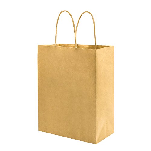 Sturdy 8x4.75x10 inch 100 Pack Medium Thick Paper Bags with Handles Bulk, Bagmad Brown Kraft Bags, Strong Craft Gift Grocery Shopping Retail Party Favors Wedding Bags Sacks (Thicken, 100pcs)