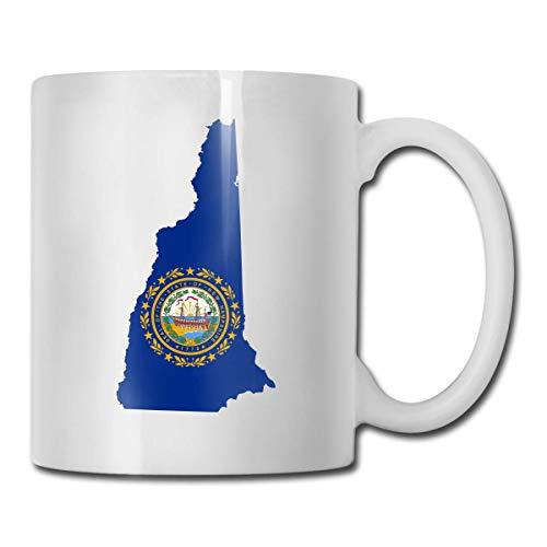 Taza con bandera de mapa de New Hampshire, taza de café para bebidas calientes, taza de gres, taza de café de cerámica, taza de té de 11 onzas, divertida taza de regalo para té y café
