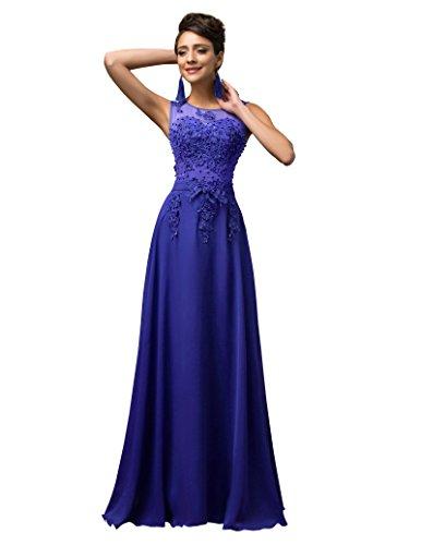 Damen Blau Wunderschoene Abendkleid fuer Ballabend Gr.44 CL007555-6