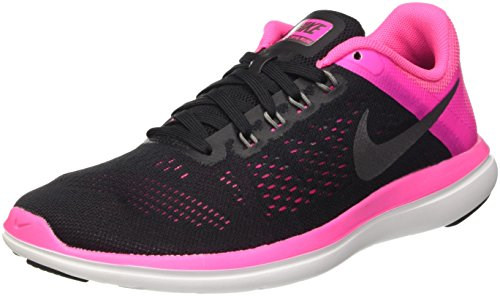 Nike Damen Flex 2016 RN Laufschuhe, Schwarz (Black/metallic Cool Grey/pink Blast/White), 37.5 EU