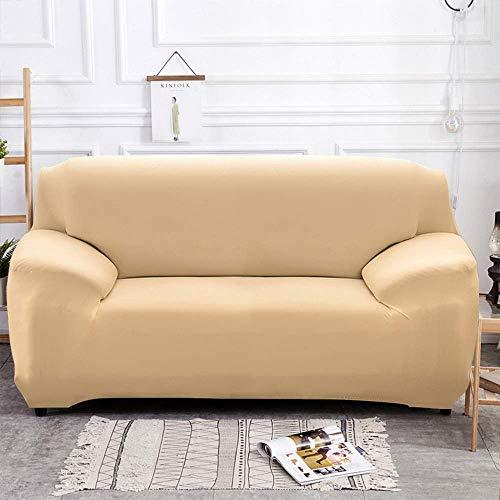 Yuany - Funda elástica para sofá (poliéster, 1/2/3/4 plazas), color beige, marrón claro, 3seater