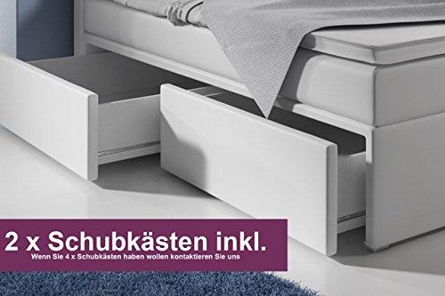 Boxspringbett mit Bettkasten 180×200 Weiß LED Kopflicht Glasstein Hotelbett Neapel - 3