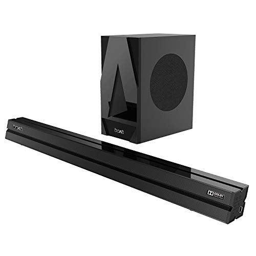 boAt AAVANTE Bar 1700D 120W 2.1 Channel Bluetooth Soundbar with Dolby Digital/Digital Plus, Wired Subwoofer, Multiple Connectivity Modes, Entertainment Modes, Bluetooth V5.0(Premium Black)