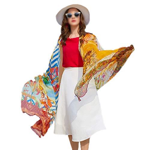 OUMIFA Bufanda Chal de protección Solar Bufanda de Gran tamaño Gusano de Seda Bufanda de Seda Viaje por la Playa Toalla de Playa Mantón de Seda Bufanda Caliente