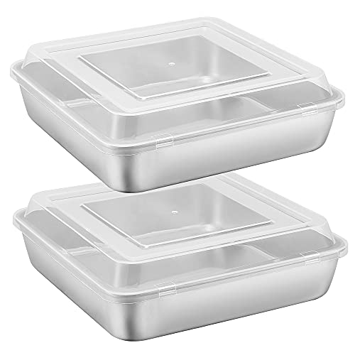 9 x 9-Inch Baking Pan with lid, E-far Square Cake Brownie Baking Pans Stainless Steel Bakeware Set of 2, Non-toxic & Healthy, Easy Clean & Dishwasher Safe - 4 Pieces(2 Pans + 2 Lids)