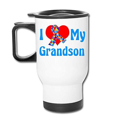 Vaso republicano para la conciencia del autismo de I Love My Grandson - Vaso con doble aislamiento - Taza de café de 30 onzas para automóvil, viajes, trabajo