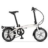 DODOBD Bicicleta Plegable, Bicicleta Ultraligera de 16 Pulgadas, 3 Velocidades Velocidad Variable para Trabajo Ligero con Luces Traseras, Bicicleta portátil para Adultos Hombres y Mujeres