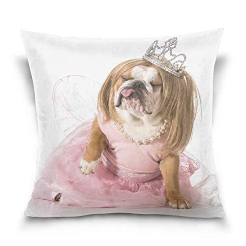 N\A Bulldog con Disfraz de Princesa Decorativo Cuadrado de Doble Cara Funda de Almohada Funda de cojín para sofá Dormitorio Coche