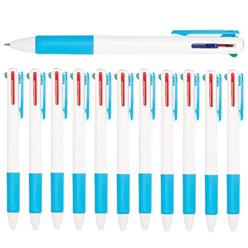 Simply Genius (12 Pack) 4-in-1 Colored Pens, Multicolored Pens in One, Ballpoint Pens Blue, Black, Green and Red, Retractable Pens New Jersey