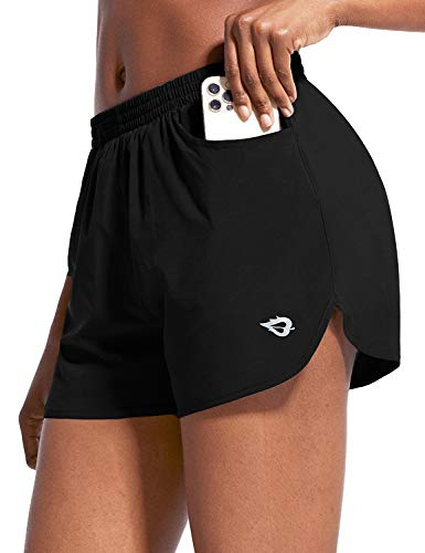 """BALEAF Women's 3"""" Running Athletic Shorts Quick Dry Gym Workout Shorts with Pockets Black Size L"""