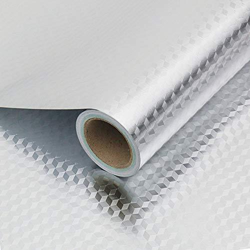Kitchen-dream Aluminiumfolie Tapete Silber wasserdichte Selbstklebende Tapeten Küche Badezimmer Anti-Öl Feuchtigkeitsbeständige Wandaufkleber Tapete für Kabinett Fliese Dekoration Würfel