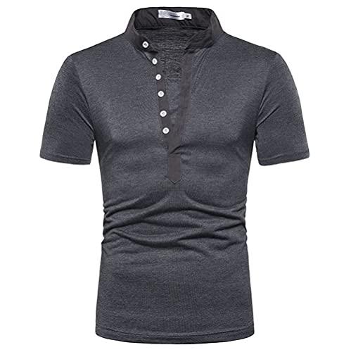 Manga Corta Hombre Camisa Verano Cuello V Ajuste Moderno Hombre Cuello Kent Camisa Generosa Color Sólido Hombre Polo Camisa Ligeros Negocios Casual Golf Deportiva Camisa C-Grey XL