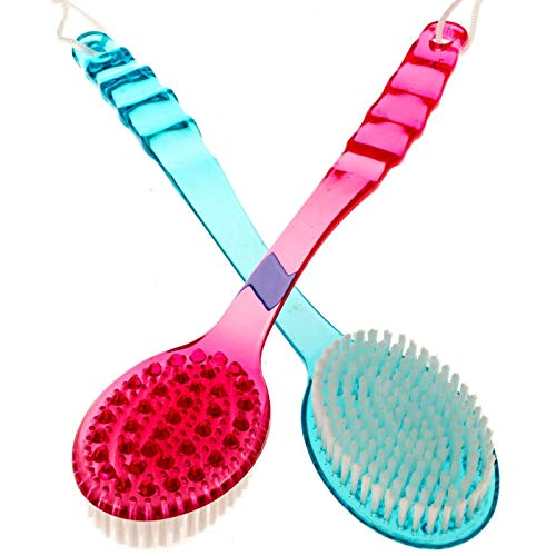 LANGING Lot de 2 brosses de Massage en Plastique Double Face pour Le Dos, la Douche et Le Bain
