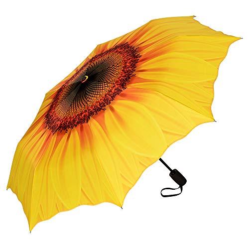 VON LILIENFELD Regenschirm Taschenschirm Blüte Sonnenblume Windfest Auf-Zu-Automatik Stabil Leicht Kompakt