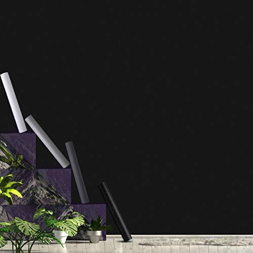 KINLO Lámina autoadhesiva, papel pintado de PVC, protección de superficies, impermeable, antimoho, para muebles, encimeras, paredes, puertas, armarios. 40 x 300 cm Negro