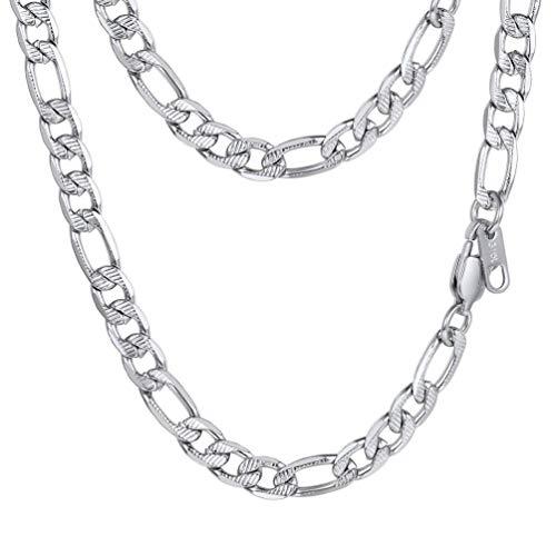 PROSTEEL Herren Klassische 3+1 Figarokette 7,5mm breit Edelstahl Glieder Link Halskette 55cm/22 Biker Rocker Gliederkette Modeschmuck Geschenk für Jungen Männer