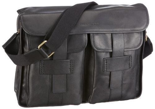 Tommy Hilfiger Max II (Leather) Messenger W/Flap, Borsa Uomo, Nero, 36,5x29,5x9,5 cm (B x H x T)