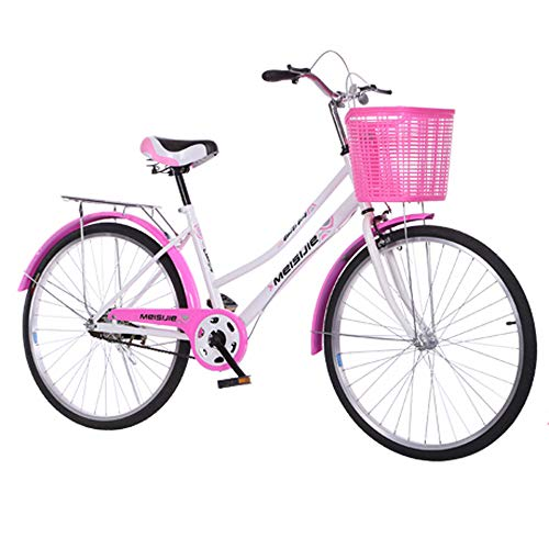 One plus one 26 Inch Ladies Bike, From 160 Cm, Basket, Ladies City Bike, Ladies Bike with A Retro Design for Women/Men/Teens/Adults