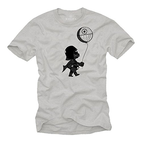 Baby Darth Vader T-Shirt mit Todesstern - Herren grau L