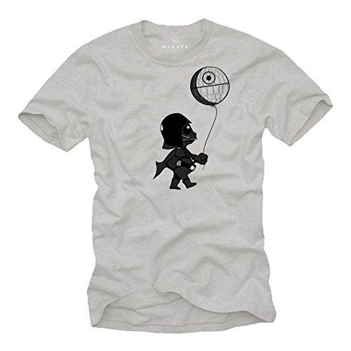 Baby Vader Camiseta Divertida Hombre - T Shirt Manga Corta Star Darth Wars Gris L