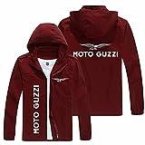 Abrigos ligeros con capucha para hombre, cortavientos al aire libre, para Moto Guzzi, cremallera de manga larga, delgada, con capucha, chaqueta sólida a prueba de viento, color rojo vino, XXL