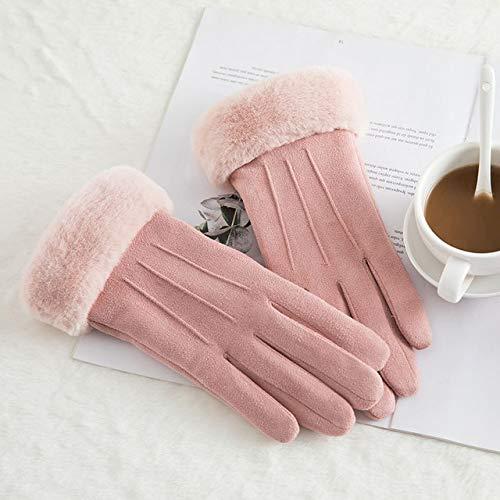 New Winter Female Lace Warm Cashmere DREI Rippen Niedliche Bärenhandschuhe Doppelte Dicke Plüsch Handgelenk Frauen Touchscreen Fahrhandschuhe-C56 B Pink