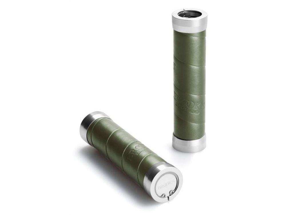 BROOKS BLG4  A07244 BLG4 A07244 Olive SLENDER GRIPS OLIVE GREEN LEATHER WRAP