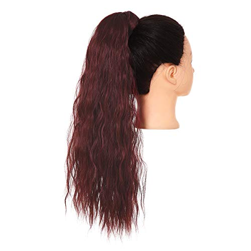 Red Ponytail Extension Clip in Drawstring Ponytail Heat Resistant 22 Inch Long Kinky Curly Synthetic Hairpiece for Women SARLA P009&Wine