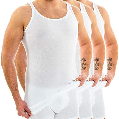 HERMKO 3007 3er Pack extralanges Herren Unterhemd (+10 cm) Tank Top aus 100% Bio-Baumwolle, Größe:D 5 = EU M, Farbe:weiß