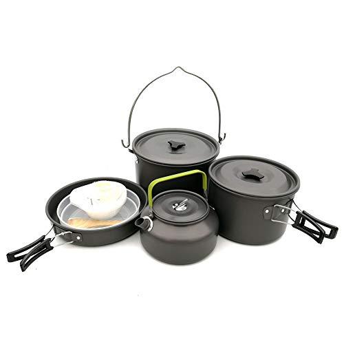 WYYHAA Kit Casserole Camping, randonnée Matériel et randonnée Camping Set de Cuisine en Aluminium léger Pliant Camping Casseroles et poêles Set pour 4-6 Personnes