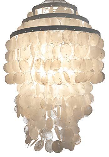 Deckenlampe / Deckenleuchte, Muschelleuchte aus hunderten Capiz, Perlmutt Plättchen