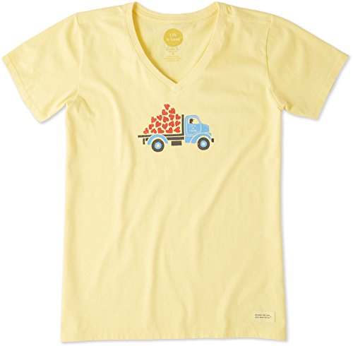 Life Is Good Womens Crusher Vee Special Delivery, Happy Yellow, X-Large