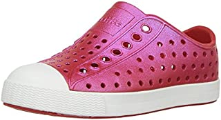 native Kids' Jefferson Iridescent Child Shoe, Torch Red/Shell White/Galaxy Iridescent,  8 Medium US Toddler