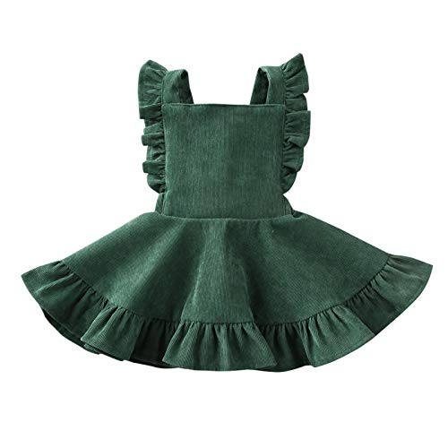 MERSARIPHY Toddler Tutu Dress Infant Sleeveless Vest Skirt Baby Backless Cute Romper for Girl Ruffle Skirt, Ages for 6Mos-5T (Green, 6-12 M)