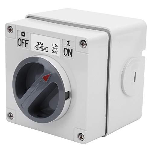 Material de la PC 250 V 100000 veces Interruptor de aislamiento impermeable con bloqueo de seguridad(1P 32A)