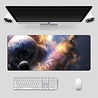 マウスパッドゲームプレーヤーおよびオフィスカラー星雲パターンサイズ(700×300×3mm)用の拡張マウスパッドコンピューターキーボードマウスマットノンスリップラバーベースおよびステッチエッジ