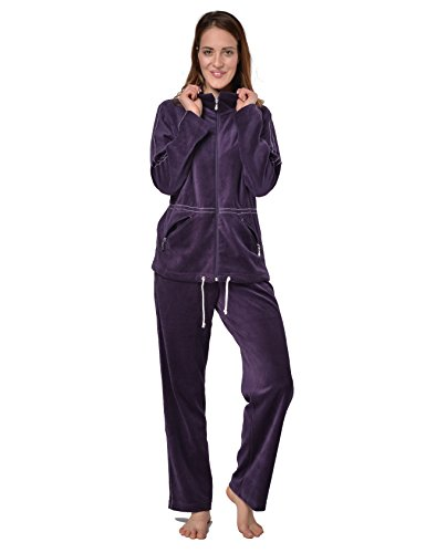 RAIKOU Damen Nicki Hausanzug mit Reißverschluss Velours Freizeitanzug Trainingsanzug (Dunkel Lila,36/38)
