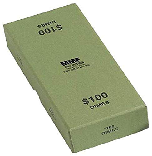MMF Industries Chipboard Coin Storage Box for Dimes, 100 Dollar Capacity, Green (211041002)