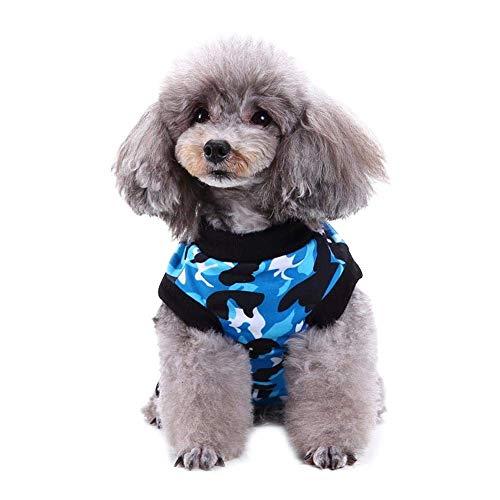 Hffheer Tuta per cani e gatti alla moda, per Recovery, dopo l'operazione, abbigliamento per cani e gatti (mimetico blue)