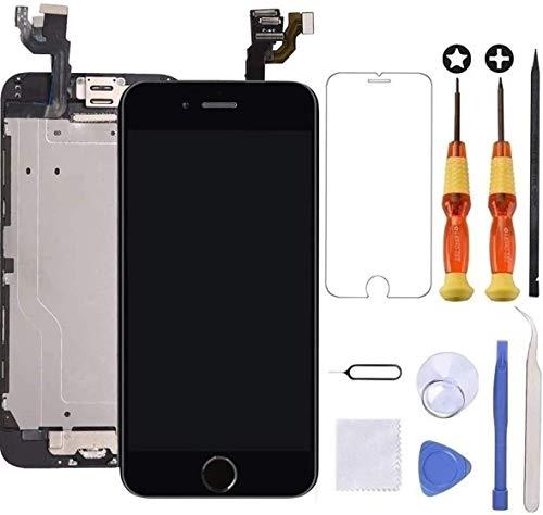 Brinonac Pantalla para iPhone 6, 4.7' Pantalla Táctil LCD con botón de Inicio,Cámara Frontal, Sensor de proximidad, Altavoz, ensamblaje de Marco digitalizador y Kit de reparación (Negro)