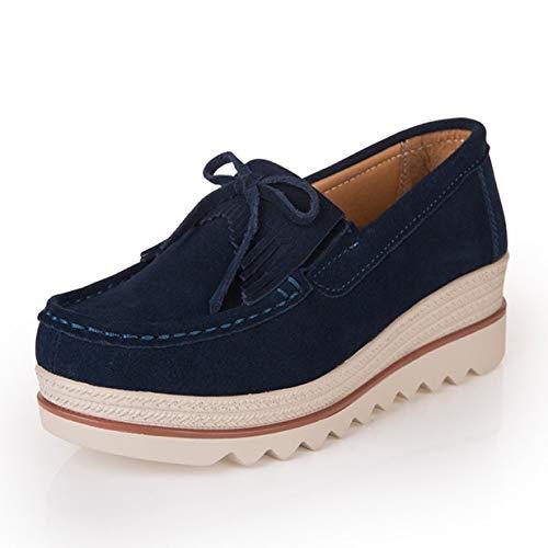 Banbie8409 Frauen Ultraleichte Fransen-Schuhe Lässige Atmungsaktive Slip-On-Schuhe (blau-solide - 36-477#)