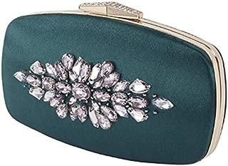 TOOGOO Vintage Green Ladies Clutch Rhinestones Evening Party Bag Crystal Clutch Bag Elegant Tote Bag Purse Green