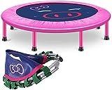 FEE-ZC Outdoor Indoor-Trampoline 48-Zoll-Kind/Erwachsener leise Übung für Erwachsene - Fitness-Rebounder mit verstellbarem Handlauf - Faltbares Design - Max. Zuladung 440 lbs