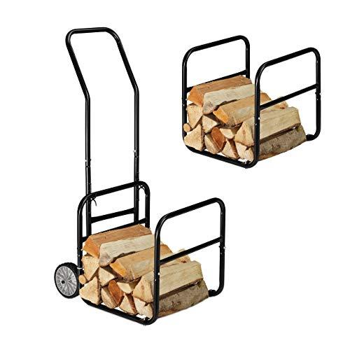 Relaxdays Kaminholzwagen, 2in1 Brennholzkarre & Feuerholzregal, aus Stahl, bis 45 kg, Transport & Aufbewahrung, schwarz