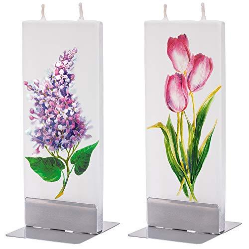 flatyz Deko Kerzen - Besondere Kerzen Zum Verschenken - Handgemachte Kerzen - Flache Kerzen Deko - Lange Brenndauer 3-4 Stunden 60x10x150mm - 2er-Set Rote Tulpen und Purpurfarbene Flieder