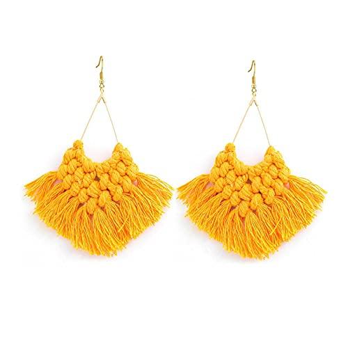 Pendientes largos de lujo tejido a mano, borla B?hmica, bisutería para mujer, color amarillo