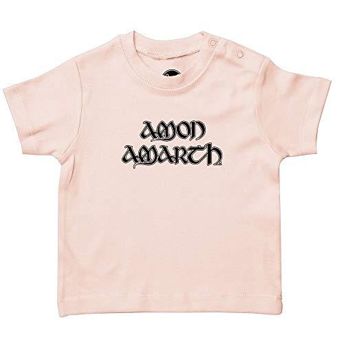 Metal Kids Amon Amarth (Logo) - Baby T-Shirt, Hellrosa, Größe 56/62 (0-6 Monate), offizielles Band-Merch